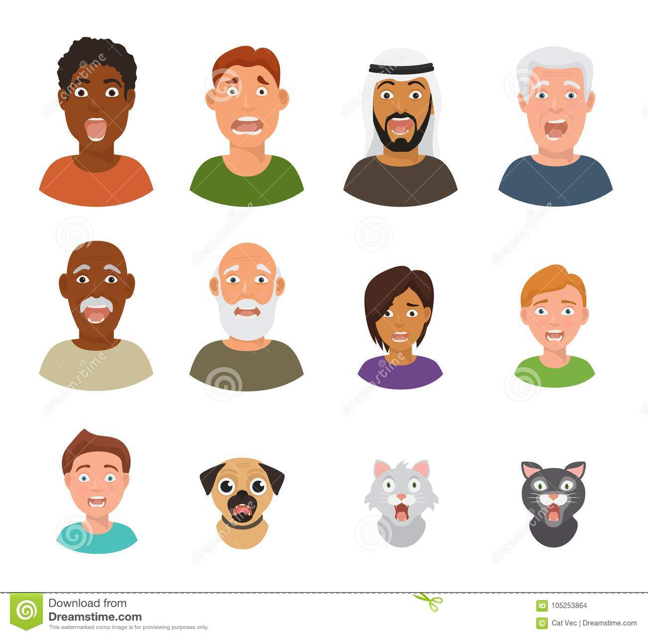 Scared People Face Vector Frightened Characters Scary In Panic And