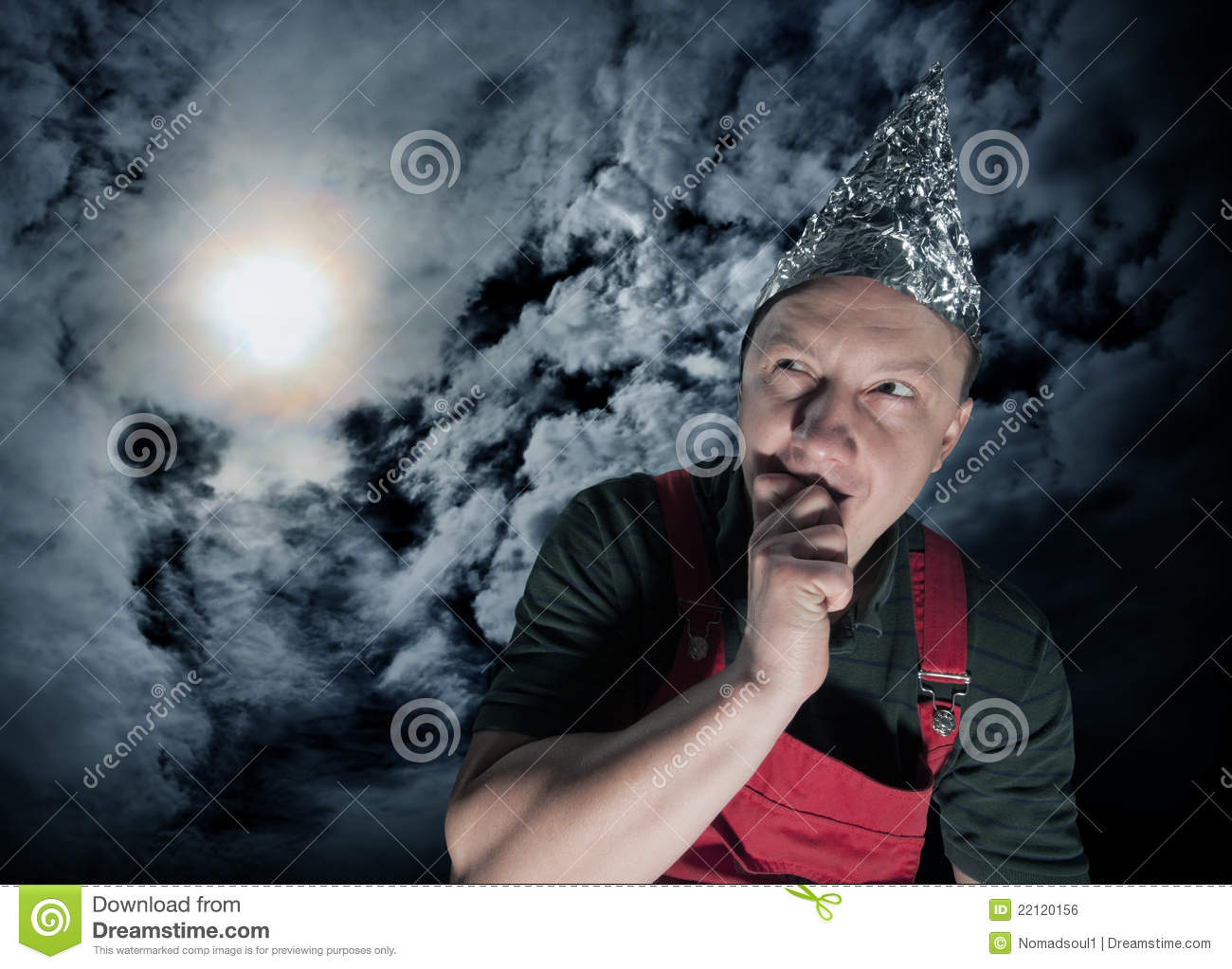 Scared suspecting man waiting for aliens