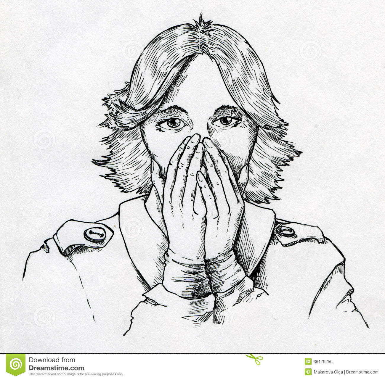 Scared woman stock illustration. Image of short, picture ...