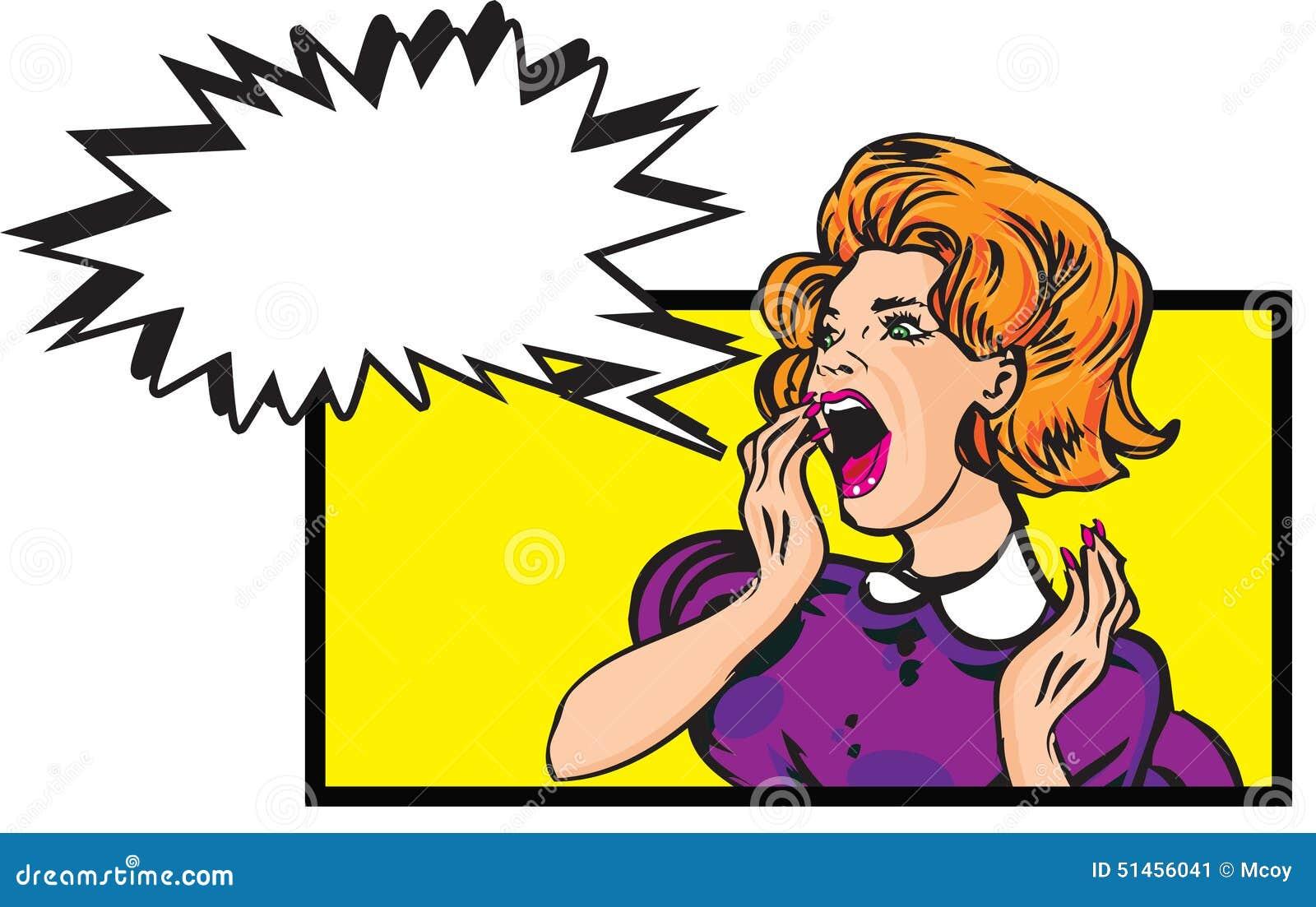 scared woman retro clip art illustration with speech bubble stock rh dreamstime com clip art of women dressed to kill clip art of women dancing