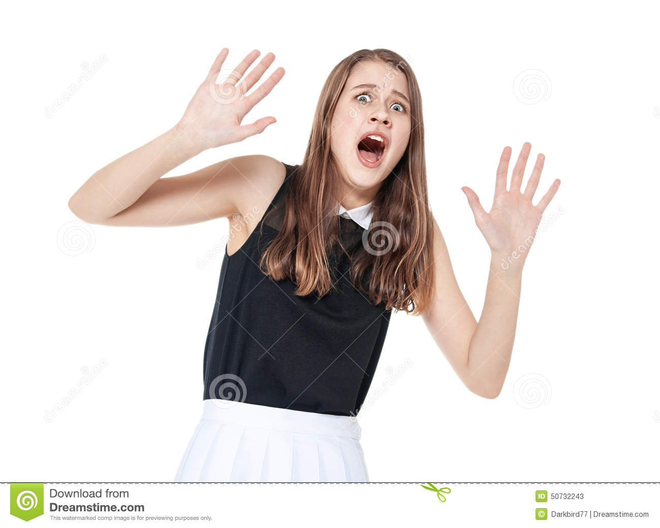 Scared Young Beautiful Teenage Girl Screaming Isolated Stock Image - Image Of Modern -1013