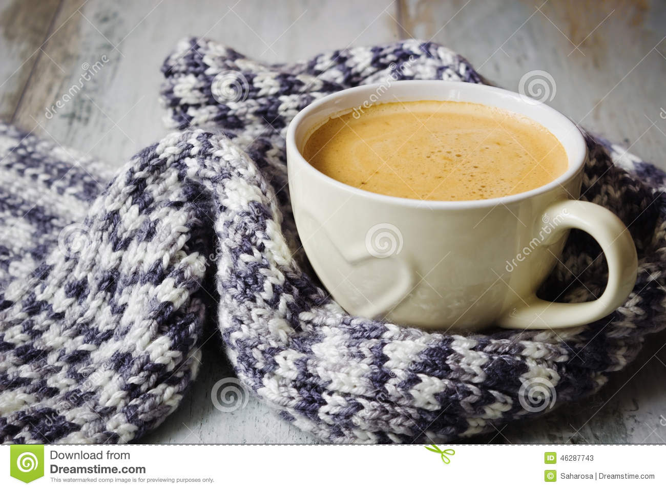 Scarf And Coffee Stock Photo Image 46287743