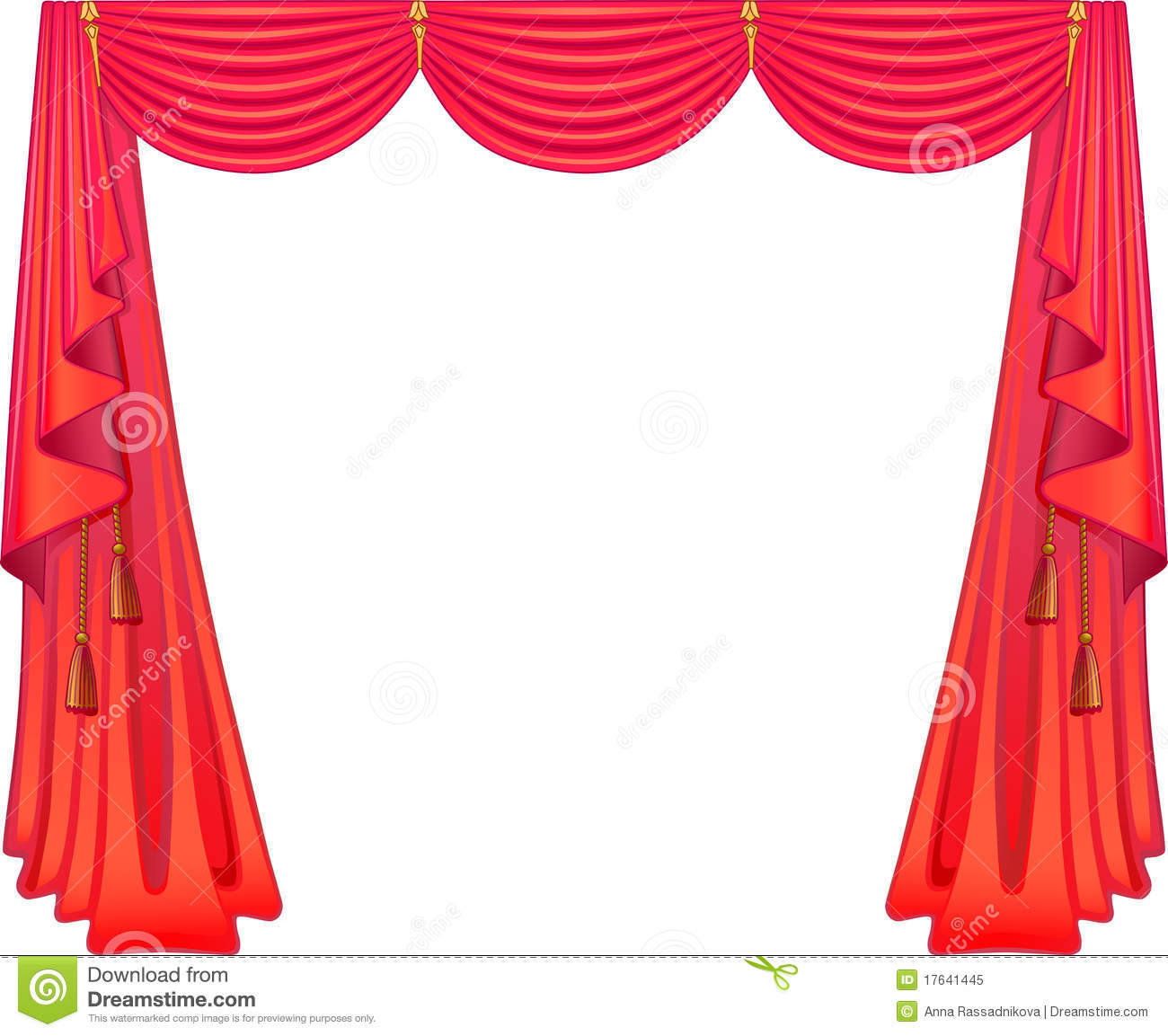 Red curtains isolated on white background.