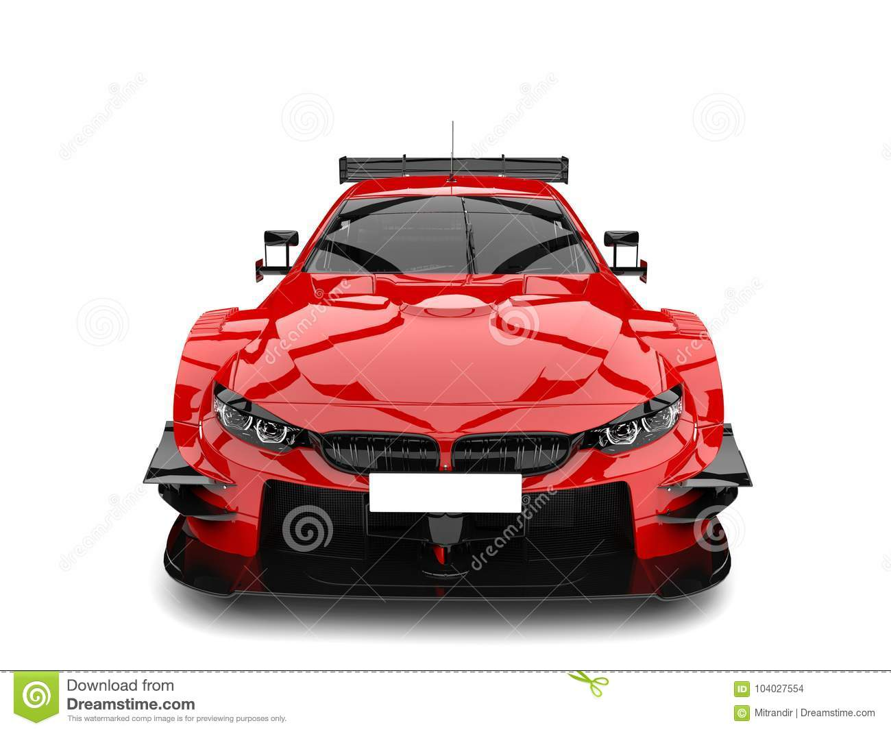 Scarlet Red Modern Super Race Car Front View Stock Illustration
