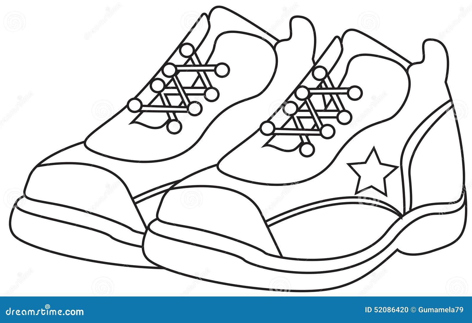 Scarpe Da Corsa Che Colorano Pagina Illustrazione Di Stock