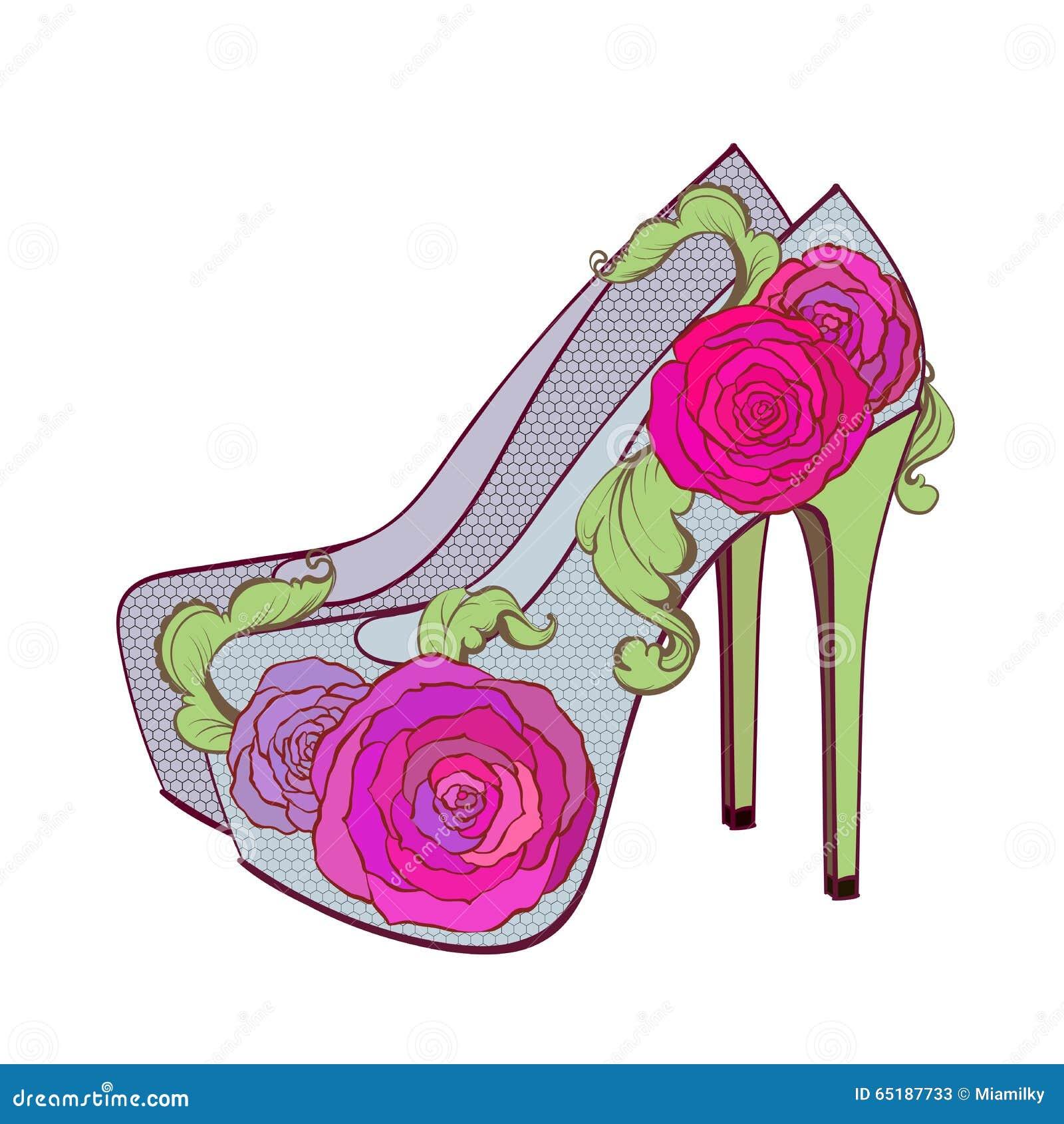 Le Di Modo Rose Illustrazione Alto Con Del Vettoriale Scarpe Qwzrh Tacco Wtrat
