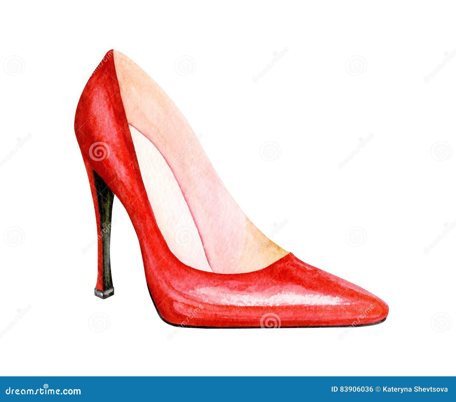 Rosso Alto Tacco Dell'acquerello Scarpe Di Del Illustrazione 6gb7fy