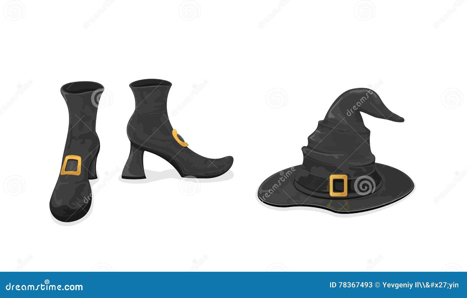 Scarpe E Cappello Delle Streghe Per Halloween Illustrazione ... 60a195163a41