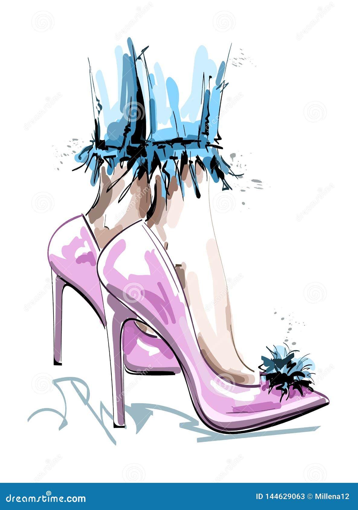 Scarpe rosa alla moda disegnate a mano con il pom del pom Piedini femminili in pattini di modo abbozzo