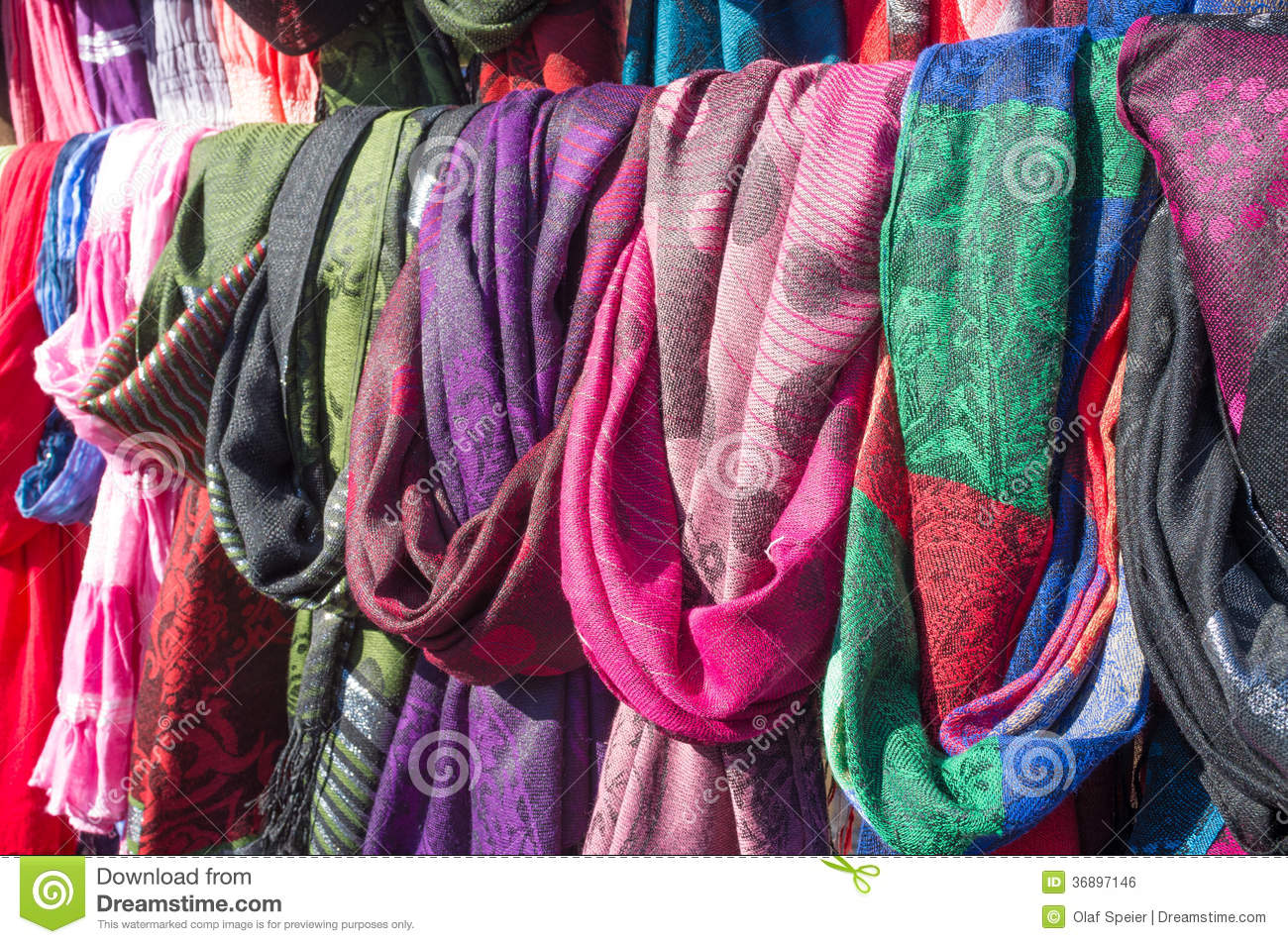 Scarves on a market stall