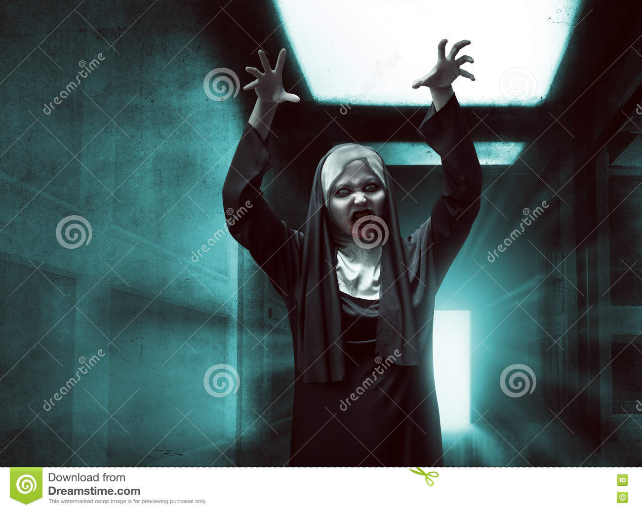 scary asian nun with bloody mouth raise up hand stock photo - image