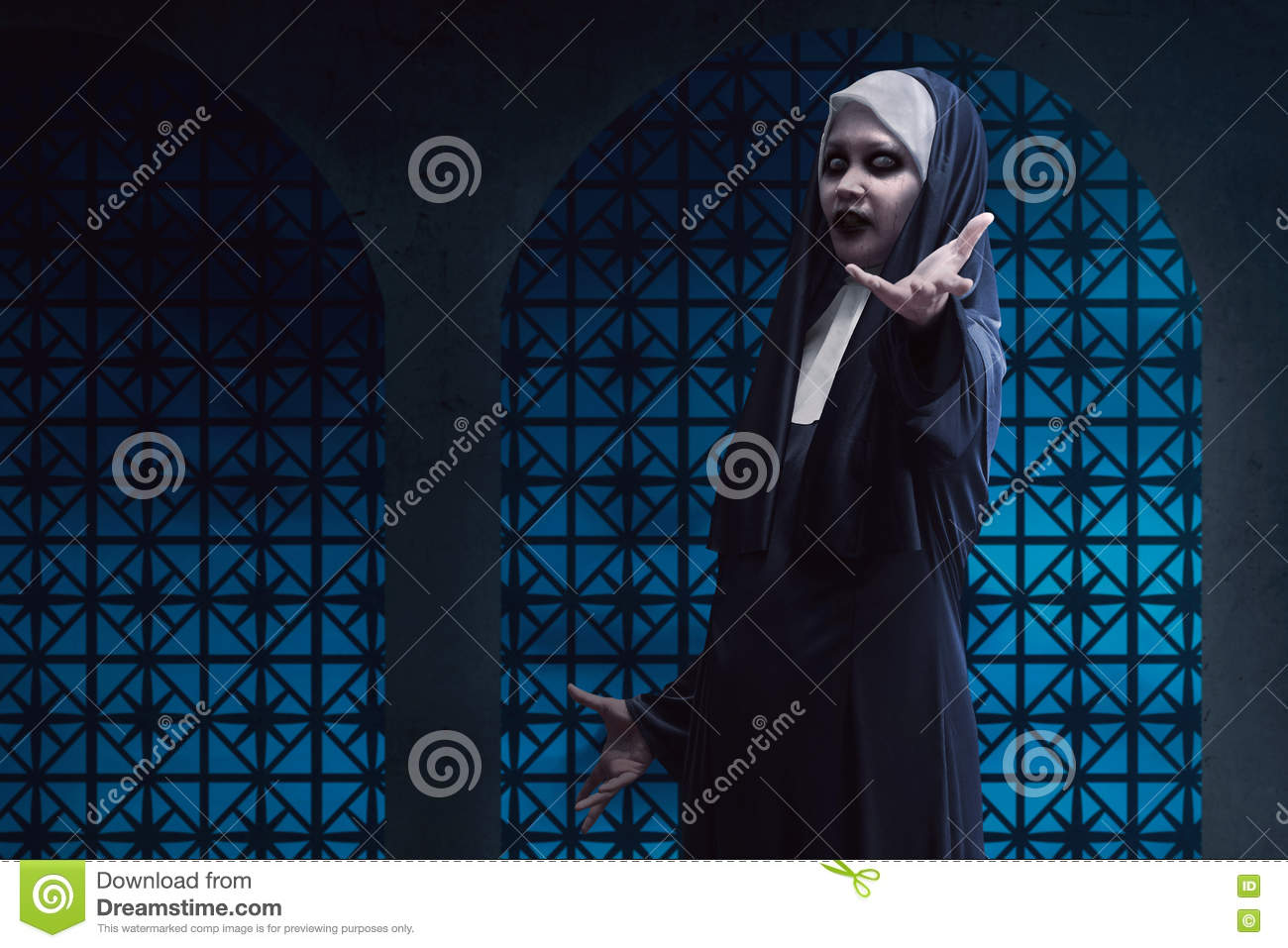 scary asian nun lend hand on stock image - image of religion, satan