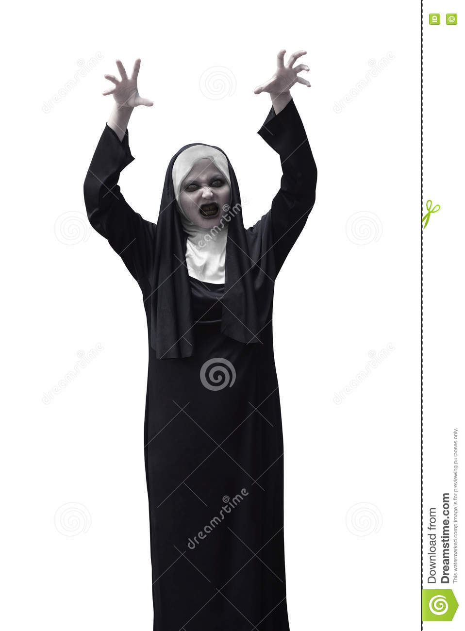 scary asian nun raise up hand want to scare stock image - image of