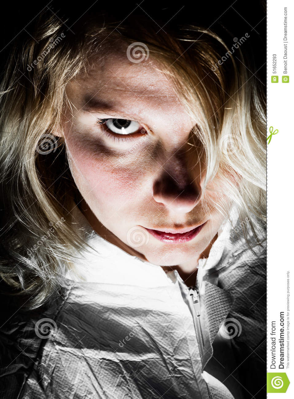 Scary Blonde Woman Looking At The Camera Stock Photo ...