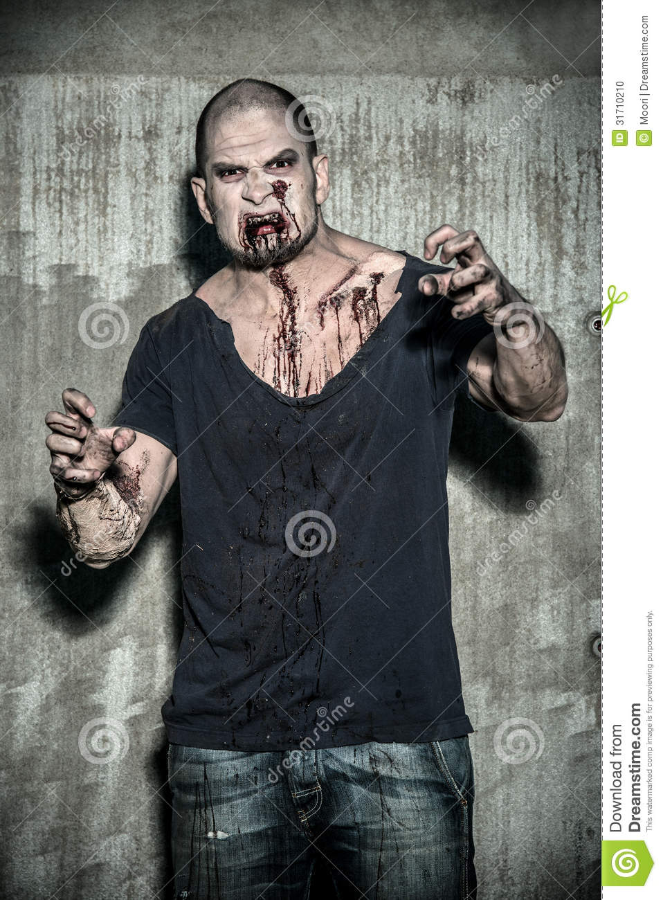Scary And Bloody Zombie Man Stock Photo - Image: 31710210