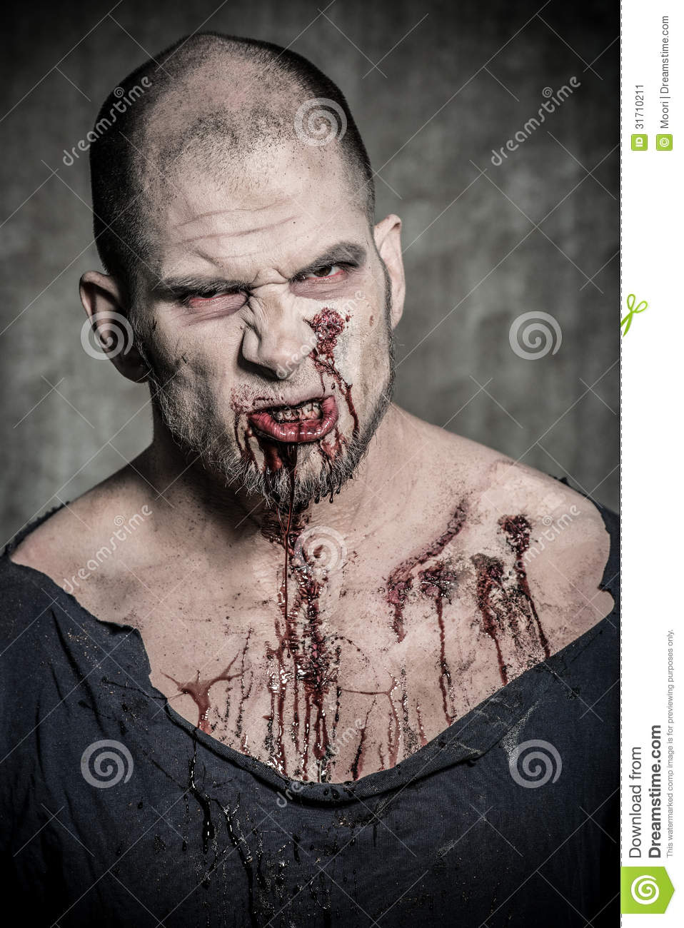 Scary And Bloody Zombie Man Stock Image - Image: 31710211