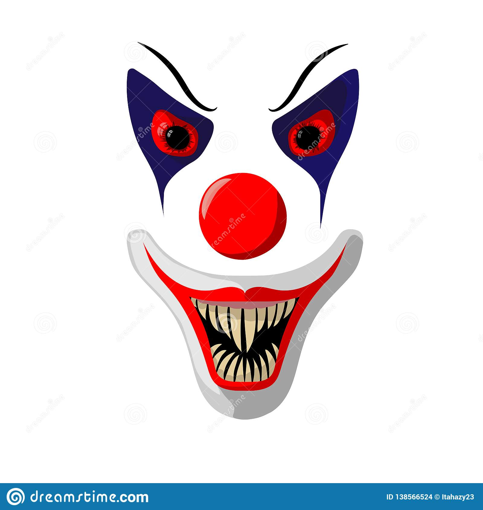 Scary Clown Face With Bloody Eyes And Big Fangs Stock Vector Illustration Of Killer Decoration 138566524