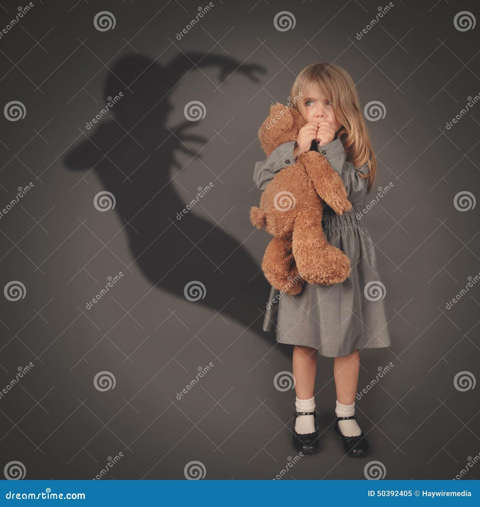 Scary Dark Silhouette Ghost Behind Little Child