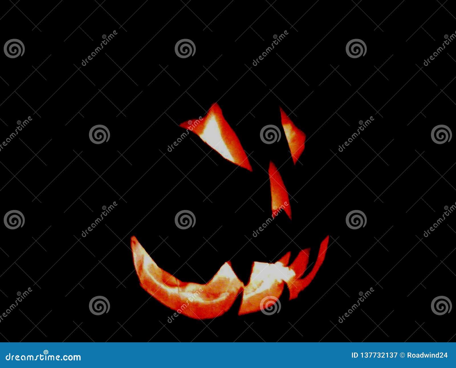 Scary fiery Halloween pumpkin face