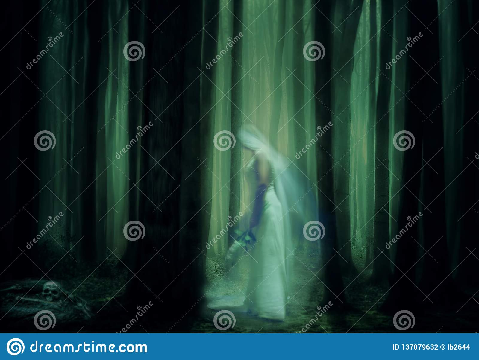 Scary ghost bride in haunted forest
