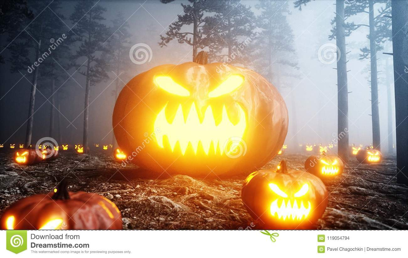 Scary gigant pumpkin in fog night forest. Fear and horror. Mistic and halloween concept. 3d rendering.