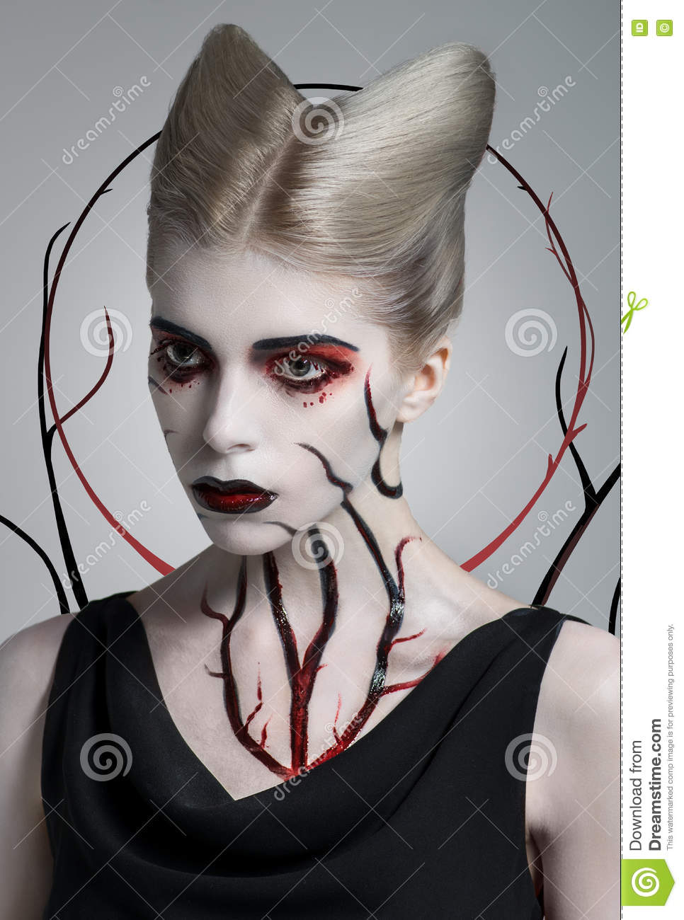 Scary Girl With Bloody Body Art Stock Image - Image of ...