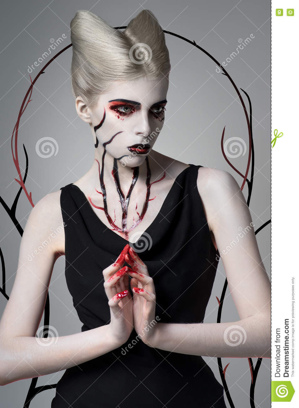 Scary girl with bloody body art
