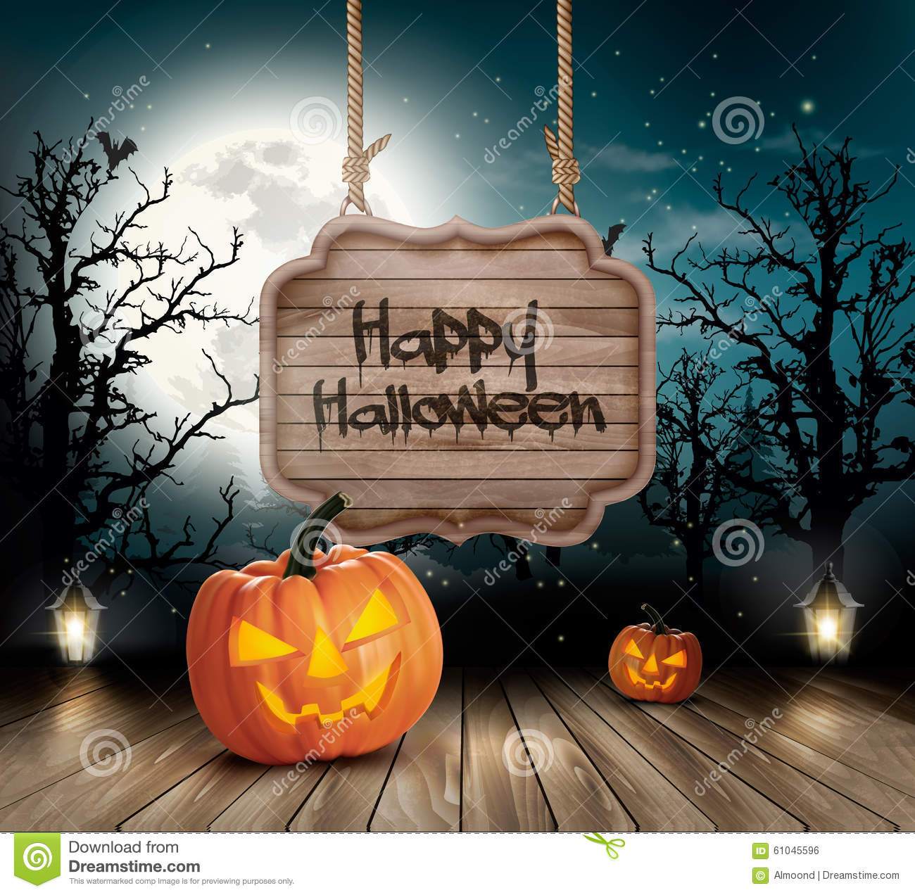 Scary Halloween background with a wooden sign.