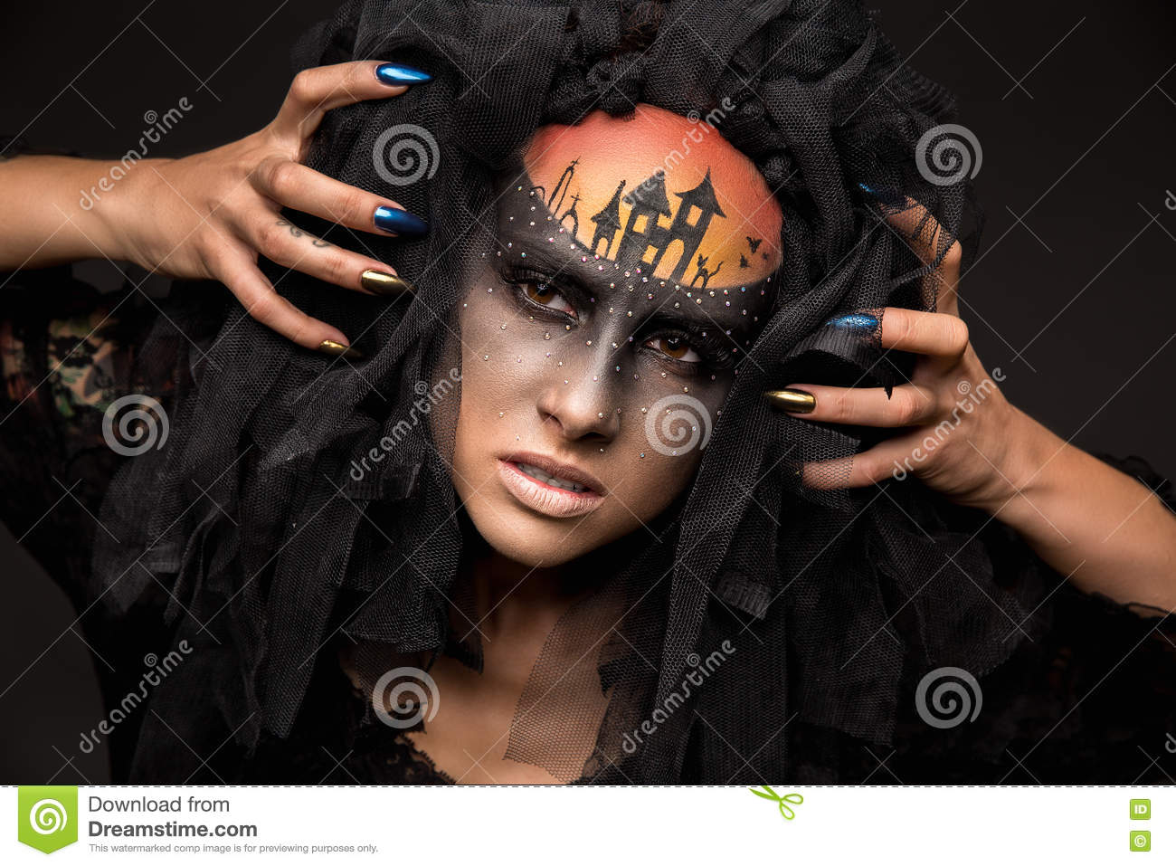 Halloween Makeup Devil Girl.Scary Halloween Bride With Concept Scary Makeup Stock Photo Image