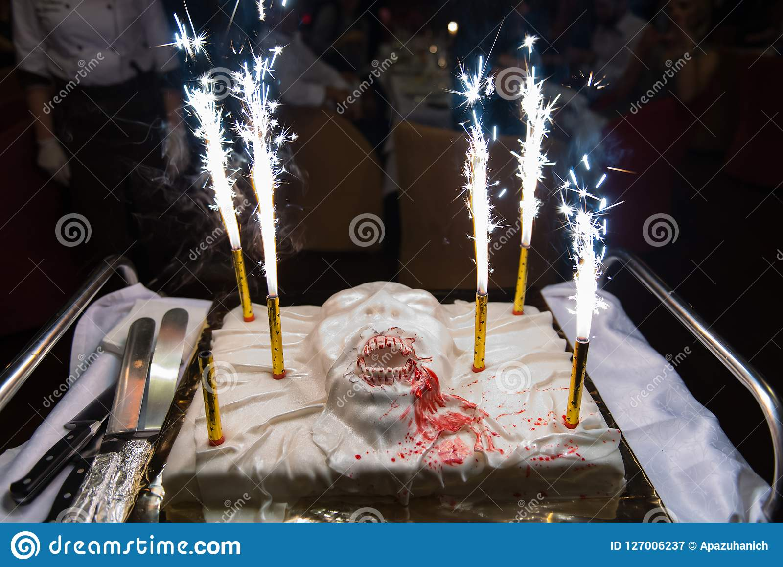 Prime Scary Halloween Cake With Firework Candles Stock Image Image Of Personalised Birthday Cards Epsylily Jamesorg