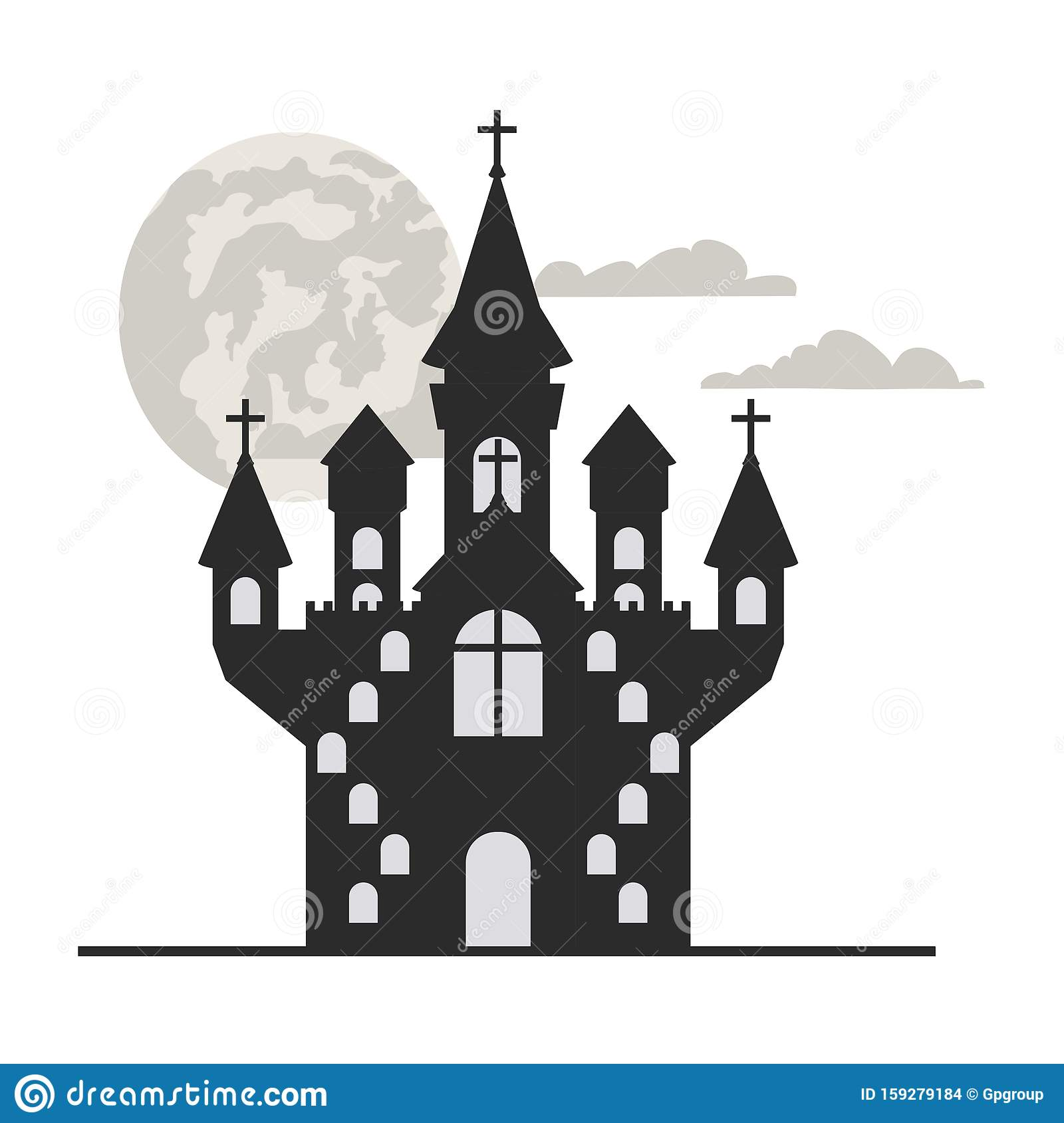 Scary Halloween Castle On White Background Stock Vector Illustration Of Drawing Event 159279184