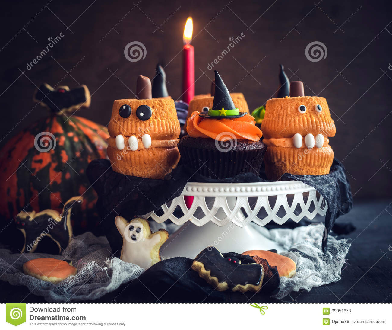 Fine Scary Halloween Cup Cakes Stock Photo Image Of Chocolate 99051678 Personalised Birthday Cards Epsylily Jamesorg
