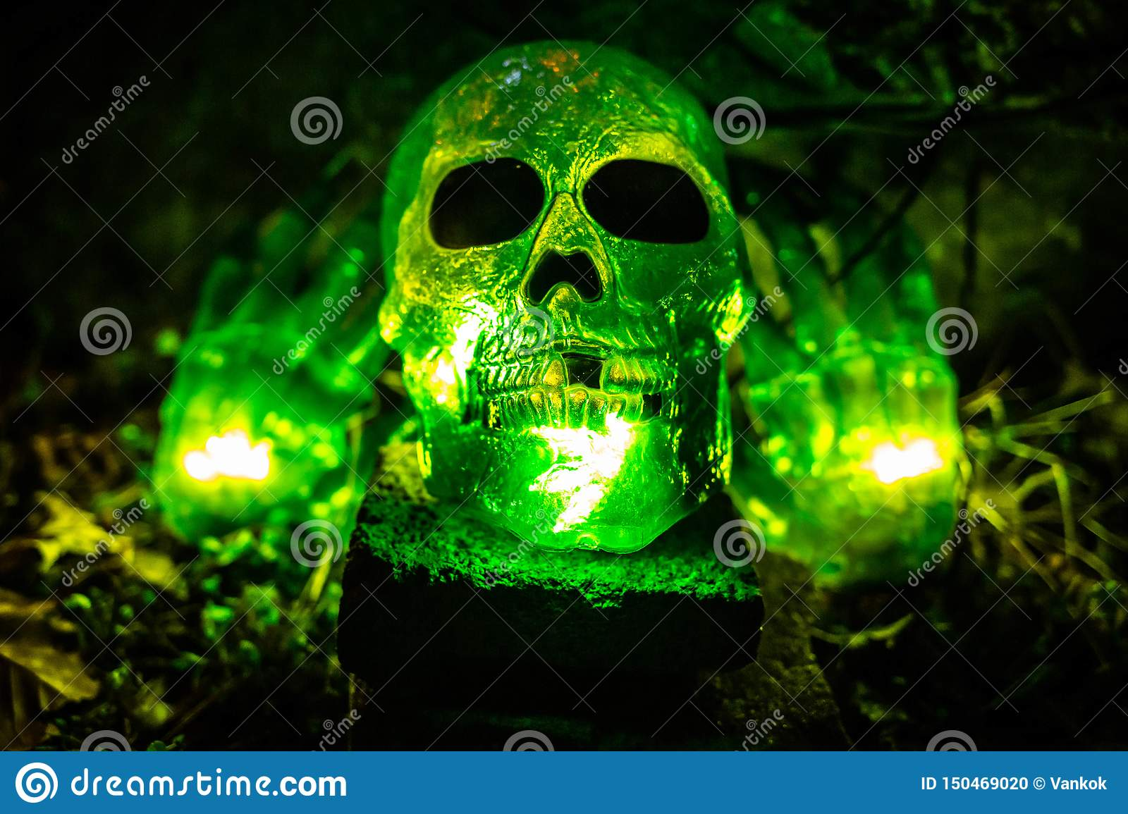 Scary Halloween Decorations Outdoors At Night Close Up Stock