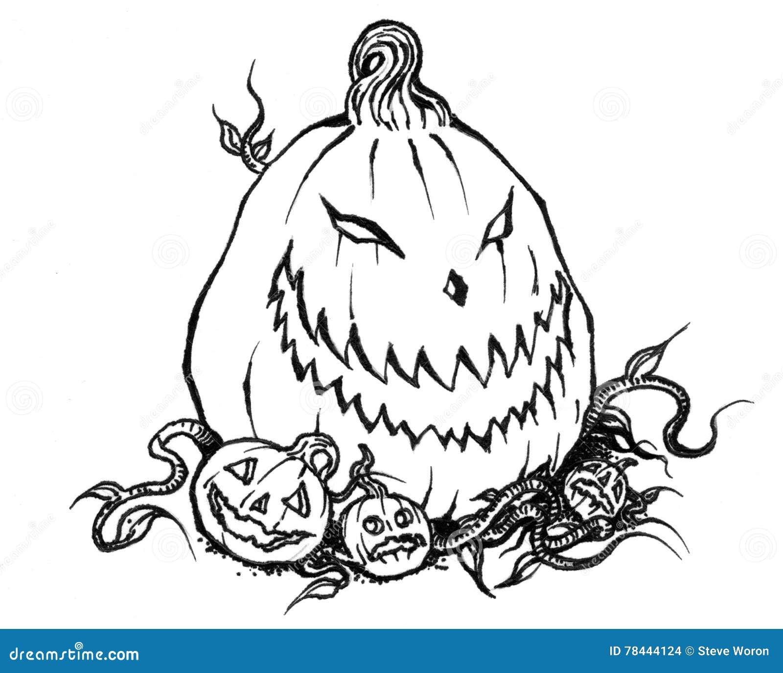 Scary Halloween Jack-o-Lantern With Baby Pumpkins Stock ...