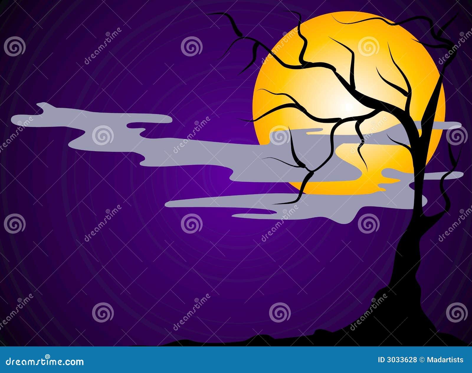 Scary Halloween Night Scene Stock Illustration ...