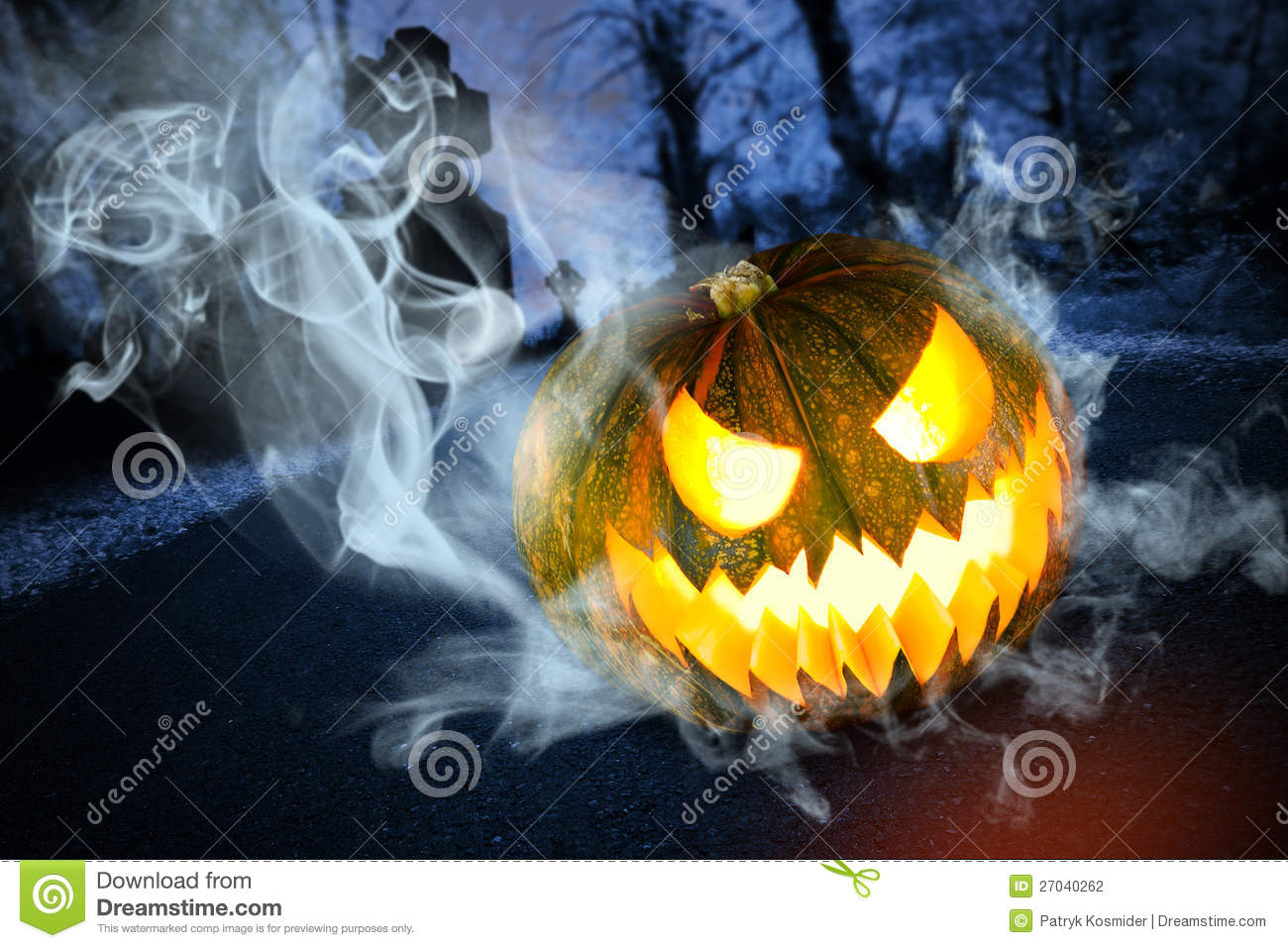 Scary Halloween Pumpkin On Cemetery At Night Stock Photo - Image ...