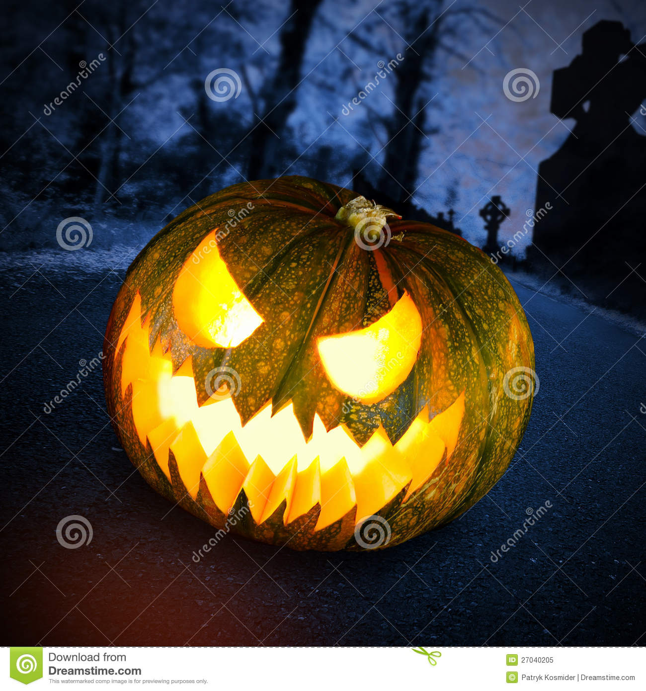 Scary Halloween Pumpkin In Dark Forest Stock Image - Image of ...