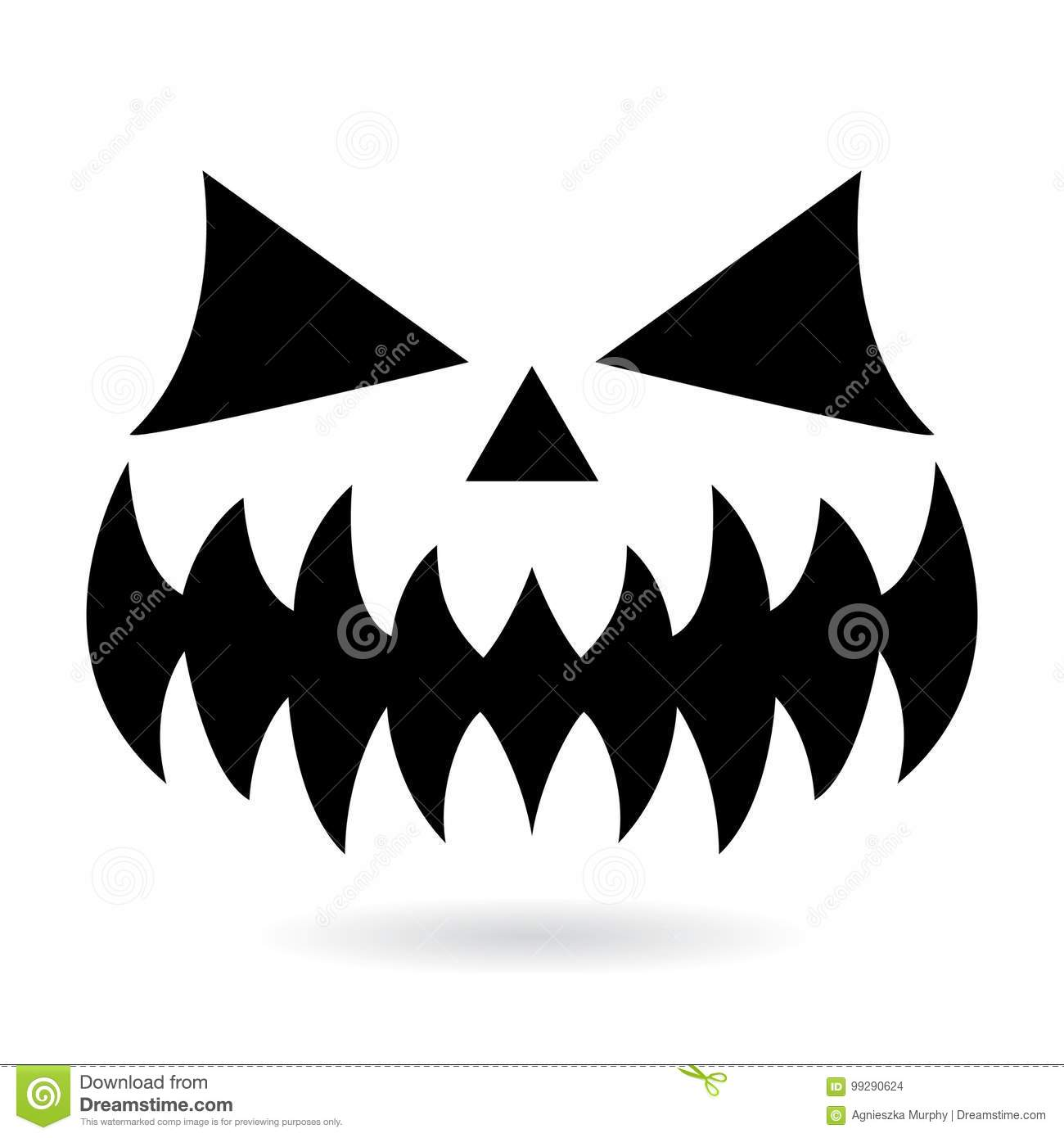scary halloween pumpkin face vector design, ghost or monster mouth