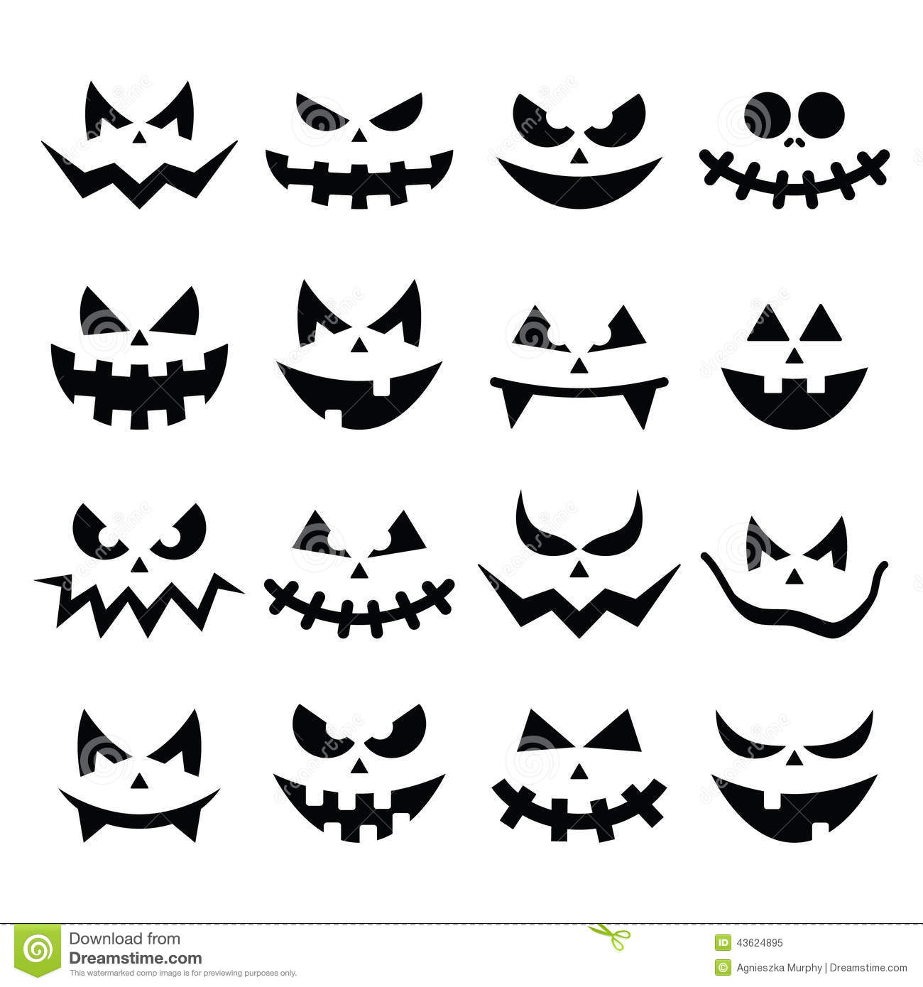 Scary halloween pumpkin faces icons set stock illustration for Evil face pumpkin template