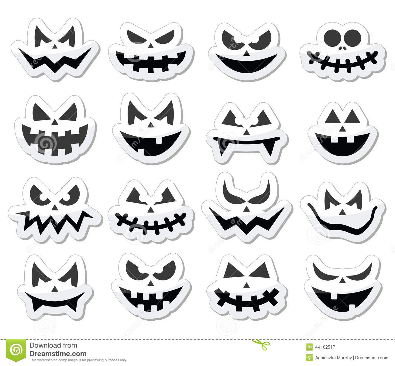 Stock Illustration Scary Halloween Pumpkin Faces Icons Set Vector Evil Spooky Isolated White Image44102517 on scary 3d halloween