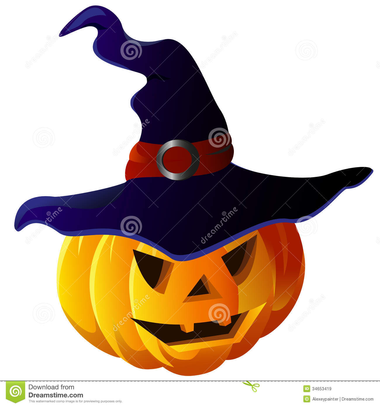 scary halloween pumpkin in witch hat vector eps10 royalty free