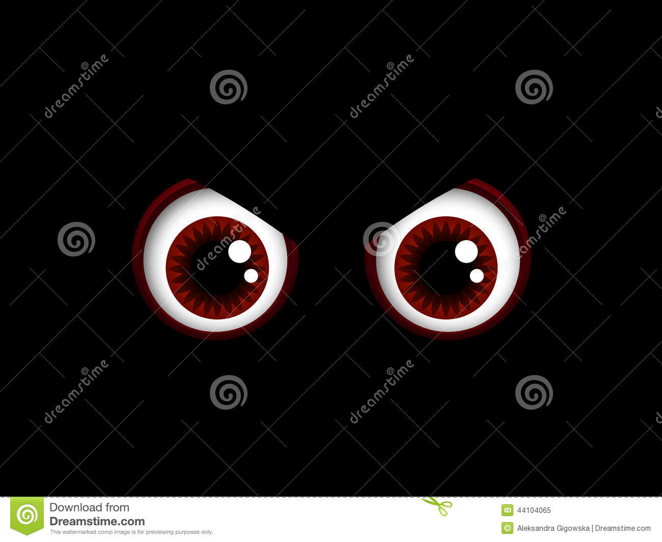 scary halloween red eyes isolated over black stock illustration