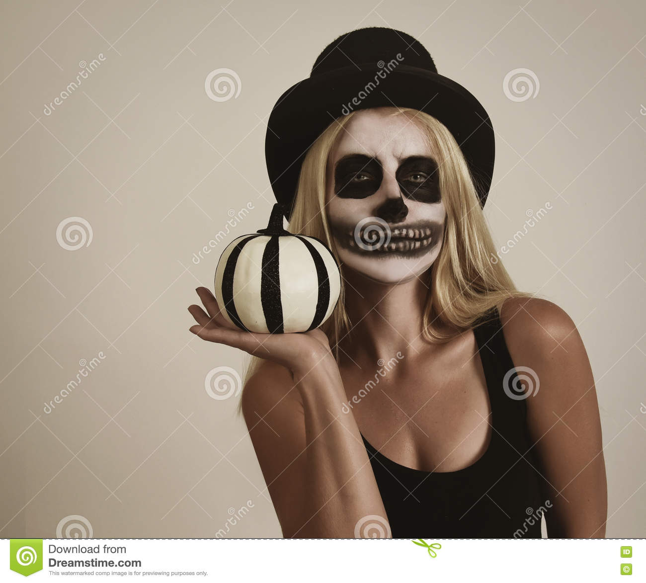 Scary Halloween Skeleton Girl Holding Pumpkin Decor