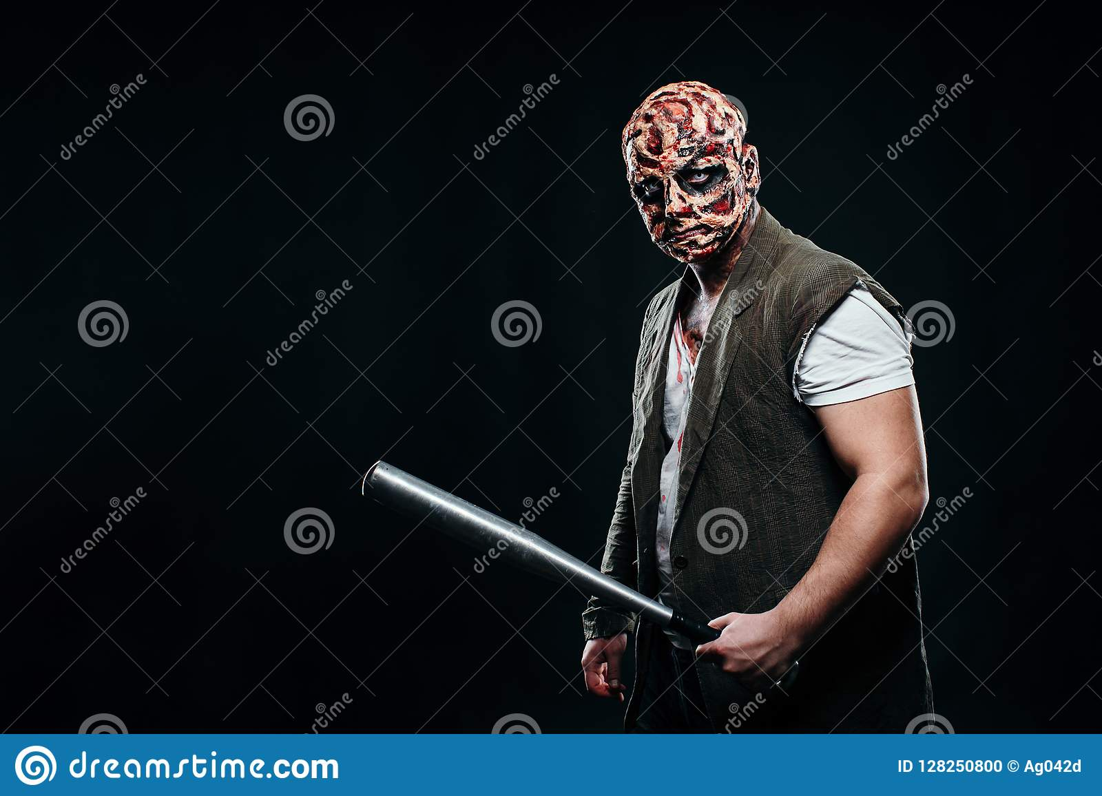 Carnival Halloween Theme.Scary Halloween Theme And Halloween Makeup Scary Man With A