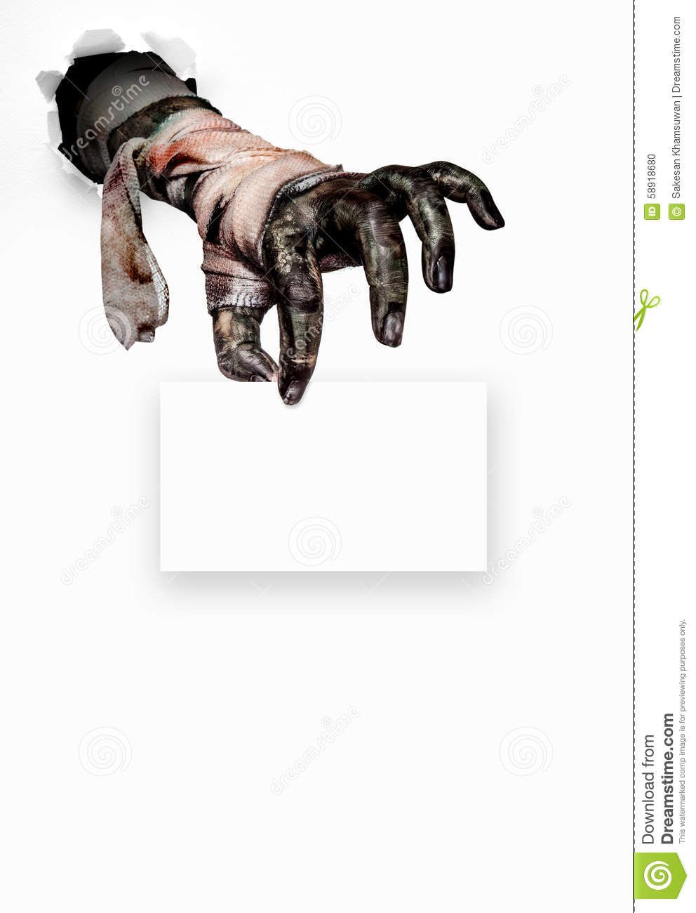 Zombie Holding Sign Scary hand stock photo...