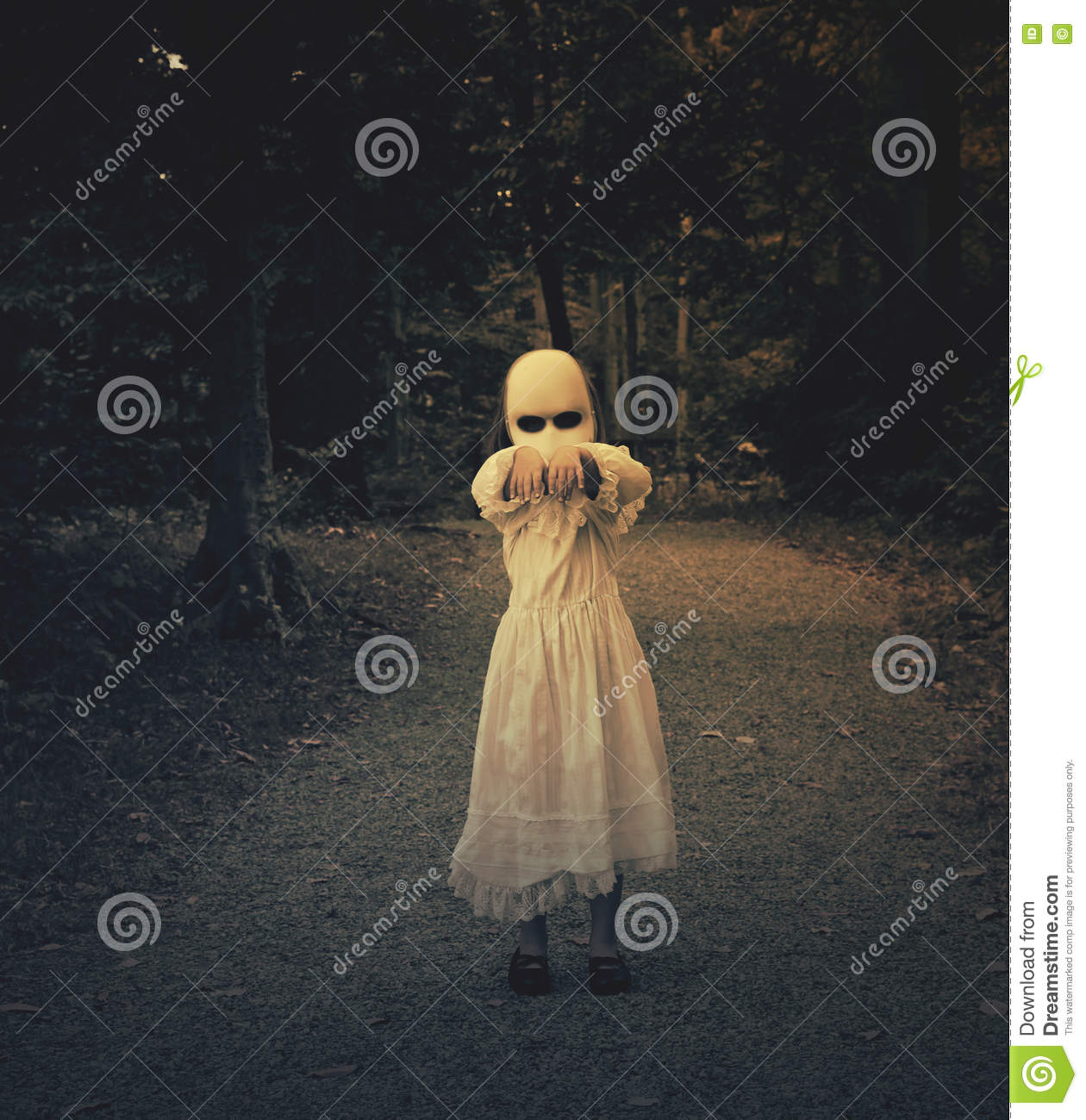 Scary Haunted Ghost Girl in Woods