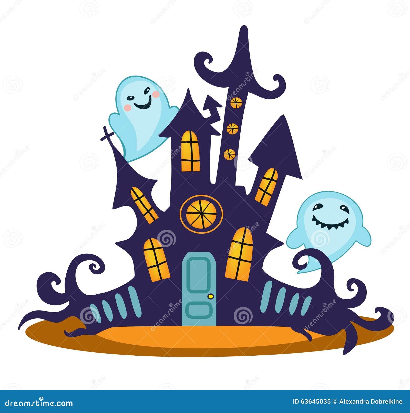 Scary haunted house vector illustration stock vector - Cartoon haunted house pics ...