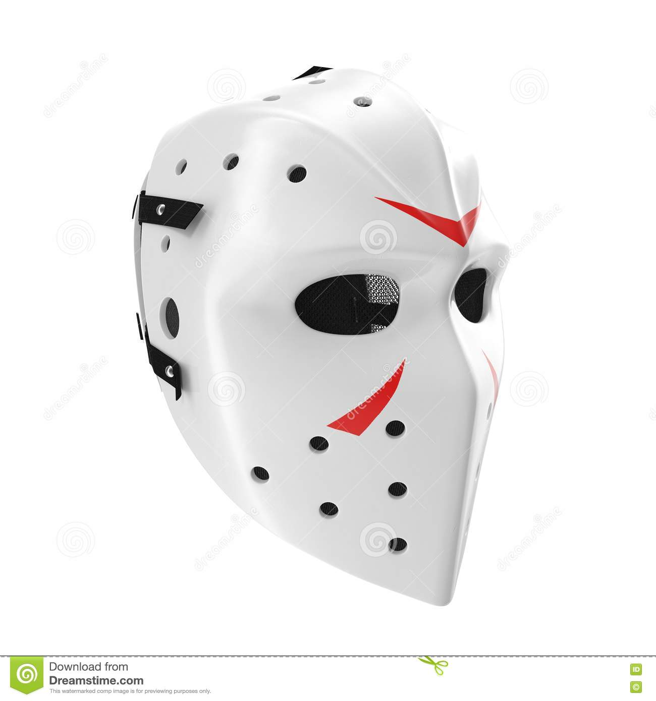 scary hockey halloween mask on white. 3d illustration stock