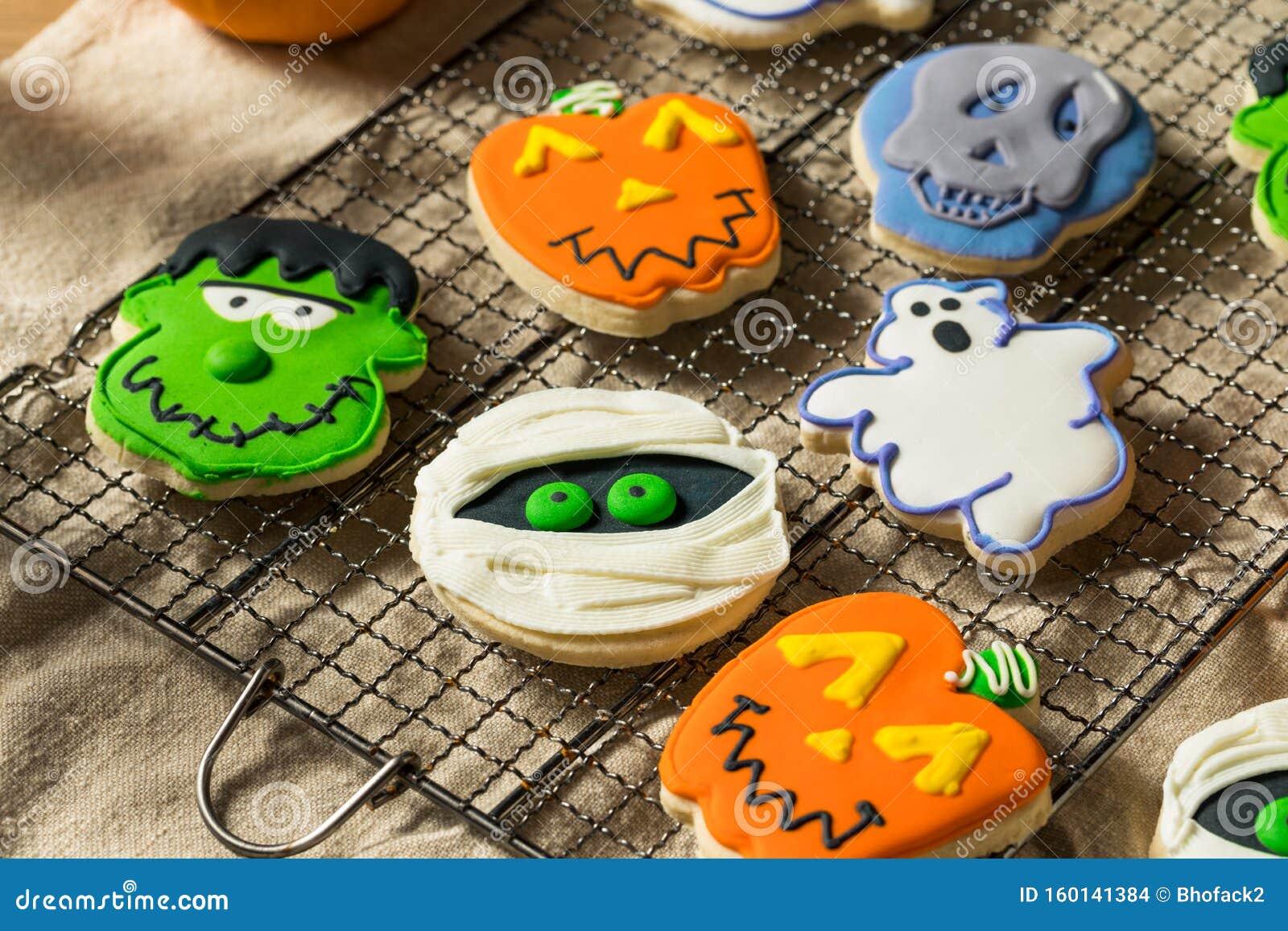 Scary Homemade Halloween Cookies Stock Photo - Image of ...