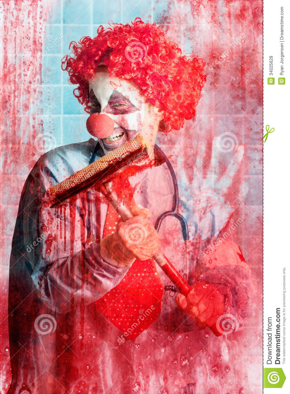 scary hospital clown cleaning blood smeared window stock